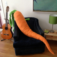 Giant Carrot Body Pillow - 4 Foot Long Stuffed Carrot for Loneliness - Made to Order