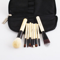 new arrival Cosmetic Make up Goat Hair Brush Tool Kit &Zipper Leather Pouch