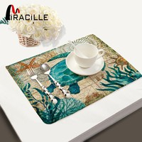 2/4/6 Pcs Kitchen Ocean Marine Animal Placemat Set / Cotton Linen Table Napkins