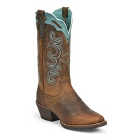 Justin Women's Rugged Tan Buffalo Western Boots