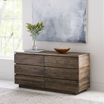 Emmerson® Modern Reclaimed Wood 6-Drawer Dresser - Stone Gray