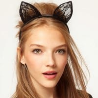 Lace Cat Ears Hairband Cosplay Fancy Dress Costume Masquerade Headband