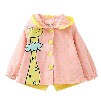 Fashion Trench Coats Kids Girls Coats Clothing Toddlers Baby Cartoon Long Sleeve Hooded Outwear