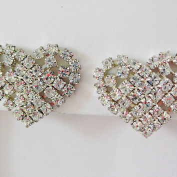 Vintage .. Heart Earrings, Silver tone, Rhinestone, Clipon Valentine