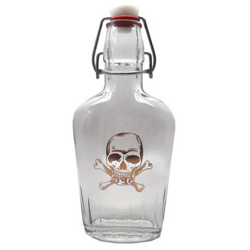Gold Skull And Crossbones Flask