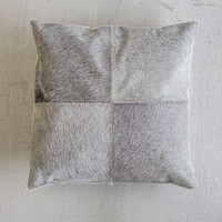 Steer Hide Pillow Grey Square 18x18