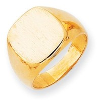 14k Yellow Gold Engravable Men's Signet Ring (14.1mm x 13.6mm face)