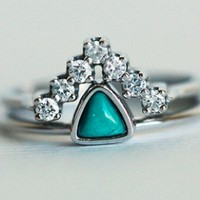 Wedding Set, Turquoise Ring with Curved Diamond Band, 18k go | Capucinne