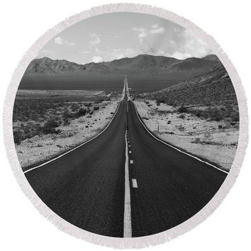 The Road Route 66 - Round Beach Towel