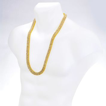 """Jewelry Kay style Men's Fashion Iced Out CZ 4 mm 3 Layer Round Stone RH Tennis Chain Necklace 30"""""""