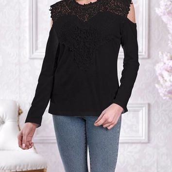 New Black Patchwork Lace Cut Out Round Neck Long Sleeve Casual T-Shirt