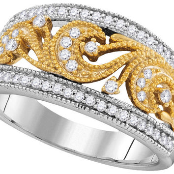 10kt Two-tone Gold Womens Round Diamond 2-tone Filigree Band Ring 1/3 Cttw 105853