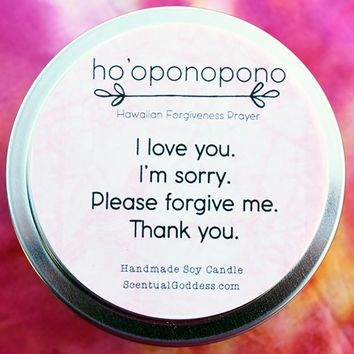Ho 'Oponopono Candle, Hawaiian Prayer: I Love You, I'm Sorry, Please Forgive Me, Thank You