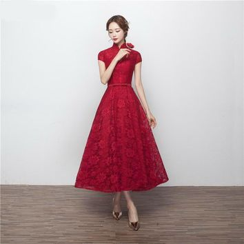 Tea Length Bridesmaid Dresses Robe Longue Femme Soiree High Neck Burgundy Lace Short Sleeves Brides Maid Dress