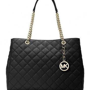 Michael Kors Quilted Leather Susannah Large Tote Purse ~Black