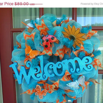 10.00 off Baby Blue With Orange Chevron Welcome Sign Deco Mesh Door Wreath