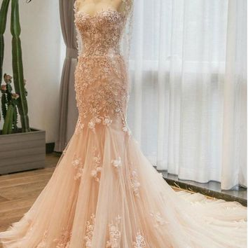 Elegant Sweetheart Mermaid Wedding Dresses Natural Waistline With Jacket Appliques 3D Embroidery Bride Dress Liyuke Customize