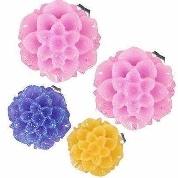 CLEARANCE - Shimmering Dahlia Flower Stud Earrings in Three Fresh Colors