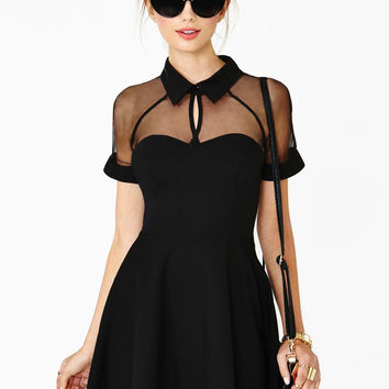Black Contrast Transparent Sheer Mesh Hollow Dress
