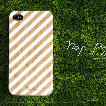 Apple iphone case for iphone iphone 5 iphone 4 iphone 4s iPhone 3Gs  white stripe line pattern on wood (not real wood)