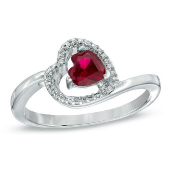 5.0mm Sideways Heart-Shaped Lab-Created Ruby and Diamond Accent Ring in Sterling Silver