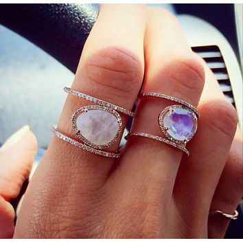 Ladies Chic Euro Style Uneven Moonstone Cocktail RIng