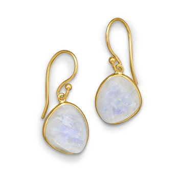 14 Karat Gold Plated Earrings with Rough Cut Rainbow Moonstone