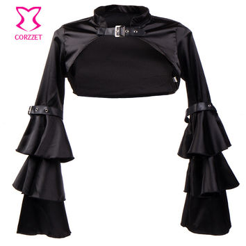 WomenBlack Satin Butterfly Sleeve Steampunk Corset Jacket Bolero Sexy Corsets And Bustiers Plus Size Gothic Clothing Accessories