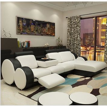 Minimalist Modern Black & White Sectional Sofa Set
