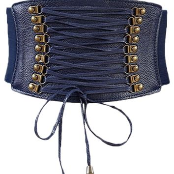 Atomic Blue Leather Lace Up Cinched Corset Belt