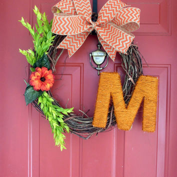 Monogrammed Twine Grapevine Wreath- Orange Twine Letter - Monogrammed Floral Wreath - Chevron Burlap Bow - Year Round Wreath