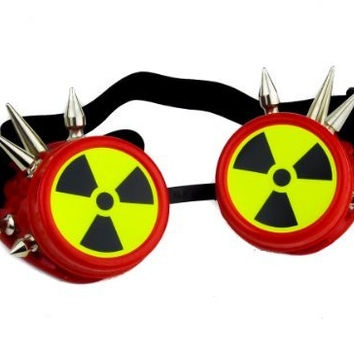 Red Frame Cyber Welder Goggles w/ Radiation Sign