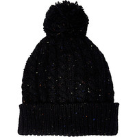 River Island MensBlack neppy cable knit beanie hat
