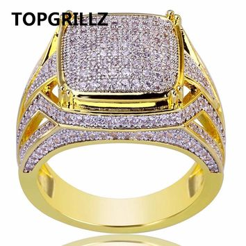 TOPGRILLZ Hip Hop Rock Men Jewelry Rings Copper Gold Color Plated 3A Micro Pave CZ Stone Square Ring With 7,8,9,10,11,12 Sizes