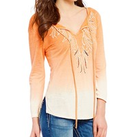 Miss Me Embroidered Ombre Long Sleeve Tie-Front Top   Dillards