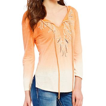 Miss Me Embroidered Ombre Long Sleeve Tie-Front Top | Dillards
