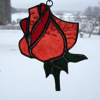 Stained Glass Rose/Rosebud Suncatcher