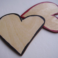 Wooden Heart Brooch Badge, plain or decorated by hand