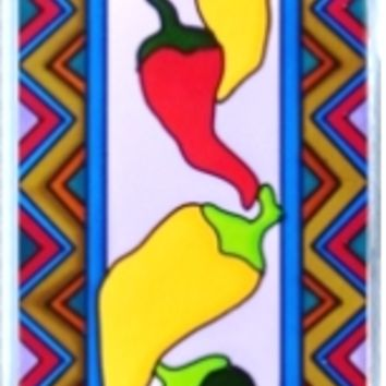 Chili Peppers Tex Mex Vertical Stained Art Glass Panel