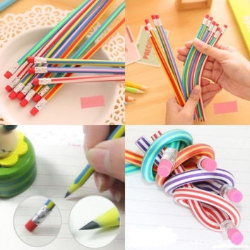 5Pcs Colorful Magic Bendy Flexible Soft Pencil With Eraser For Kids Writing Gift = 1945738692