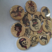 Old School Tattoos flat back buttons by Funcreations5 on Etsy