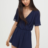 V-neck Jumpsuit - Dark blue - Ladies | H&M CA