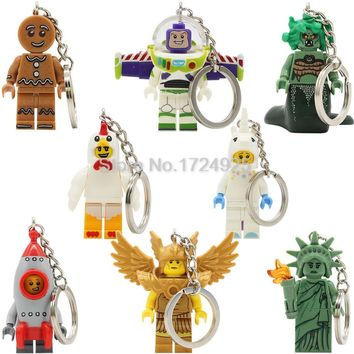Gingerbread Chicken Unicorn Man Keychain Statue Of Liberty Gold Saint Buzz Lightyear Medusa Rocket Boy key Building Blocks Toys
