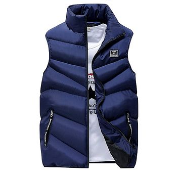 Mens High Collar Puffer Vest in Navy Blue