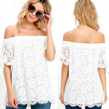 Popular Fashionable Summer Lace Sexy Off Shoulder Neckline Casual Boho Top T-shirt b2655