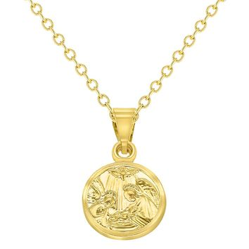 """18k Gold Plated Guardian Angel Medal Necklace Newborn Baby Infant Birth Gift 16"""""""