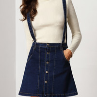 Navy Suspender Buttoned Denim Skirt
