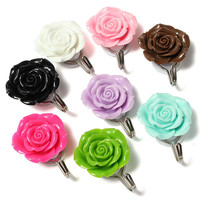 Colorful Rose Wall Hanger Self Adhesive Towel Coat Door Sticky Holder Tile Hook For Home BathrooMm Kitchen Decor