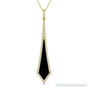 0.64ct Black Onyx & Diamond Pave 14k Yellow Gold Stiletto Pendant Chain Necklace