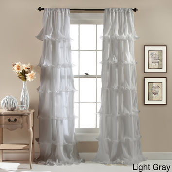 Lush Decor Nerina Ruffled Microfiber Curtain Panel | Overstock.com Shopping - The Best Deals on Curtains